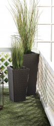 2 Tall Tuscany Polyrattan Wicker Indoor/Outdoor Planters Removable Inner Liner