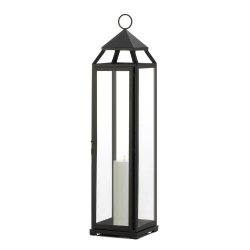 Black Contemporary Candle Lantern Extra Tall Over 2 Feet Tall