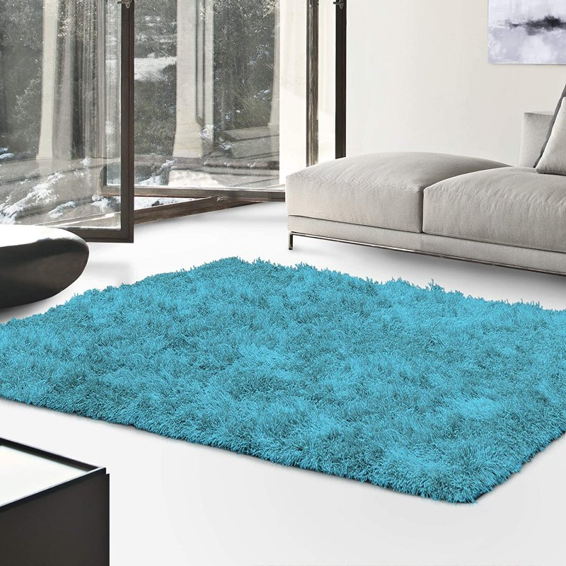 Image 0 of De Luxe Cyan Retro Hand-Tufted Soft Shag Rug & Runners Multiple Sizes