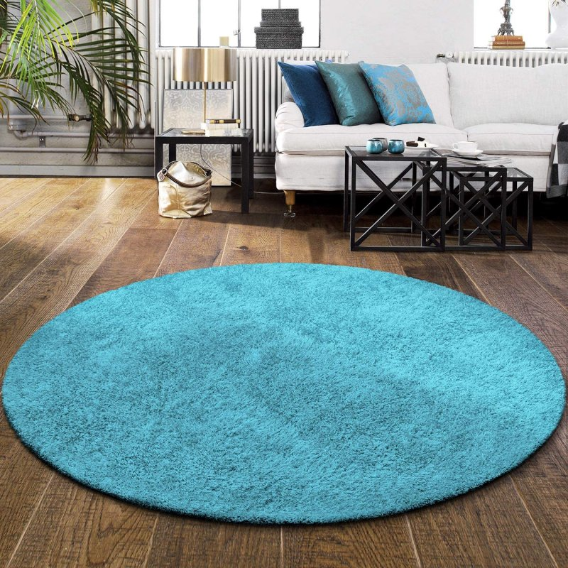 Image 1 of De Luxe Cyan Retro Hand-Tufted Soft Shag Rug & Runners Multiple Sizes