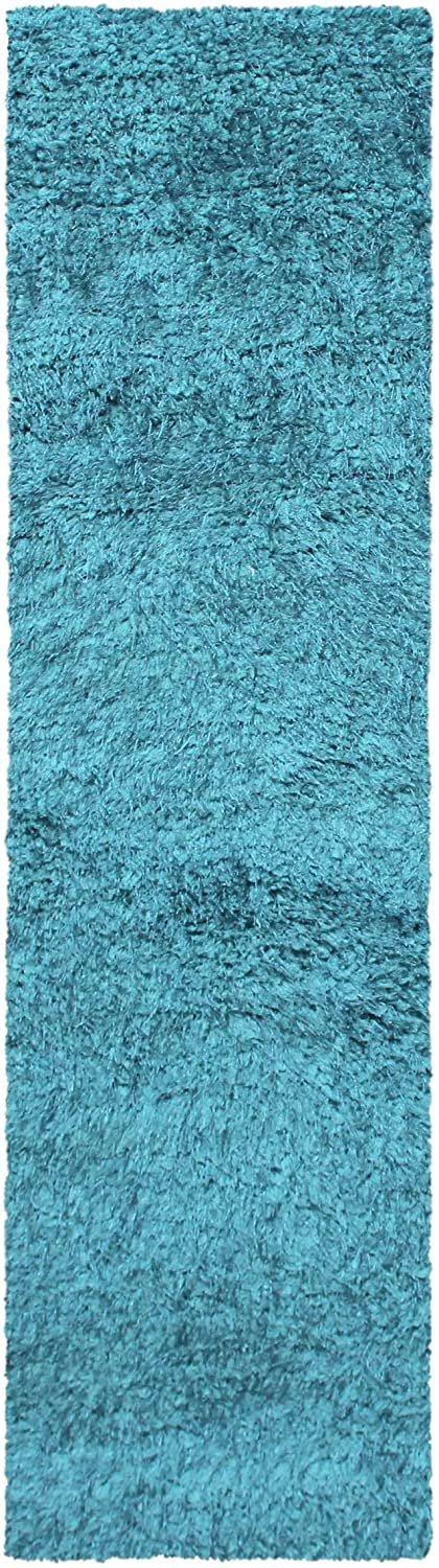 Image 2 of De Luxe Cyan Retro Hand-Tufted Soft Shag Rug & Runners Multiple Sizes