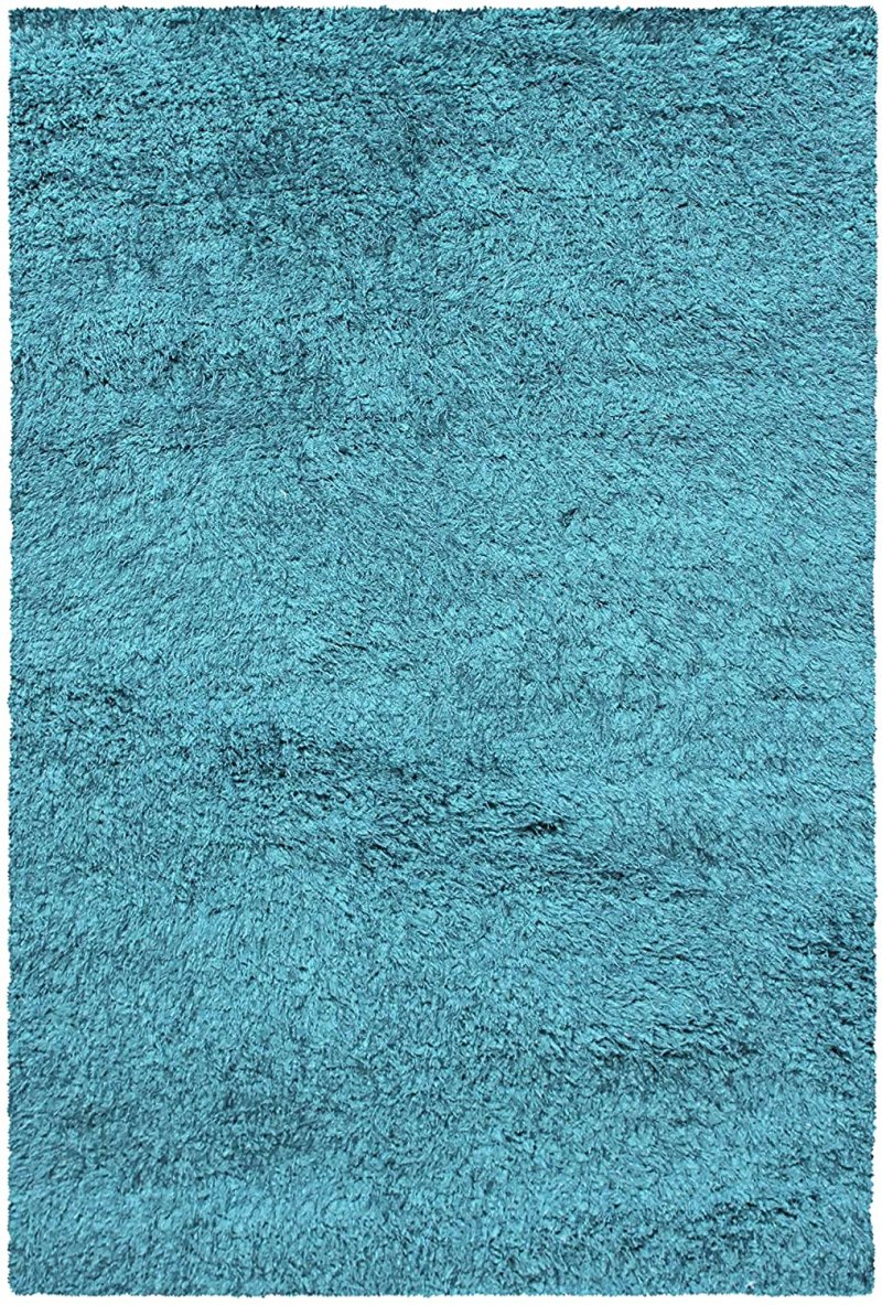 Image 3 of De Luxe Cyan Retro Hand-Tufted Soft Shag Rug & Runners Multiple Sizes