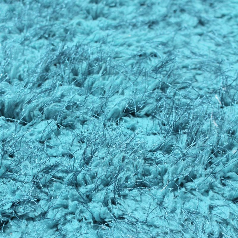 Image 5 of De Luxe Cyan Retro Hand-Tufted Soft Shag Rug & Runners Multiple Sizes