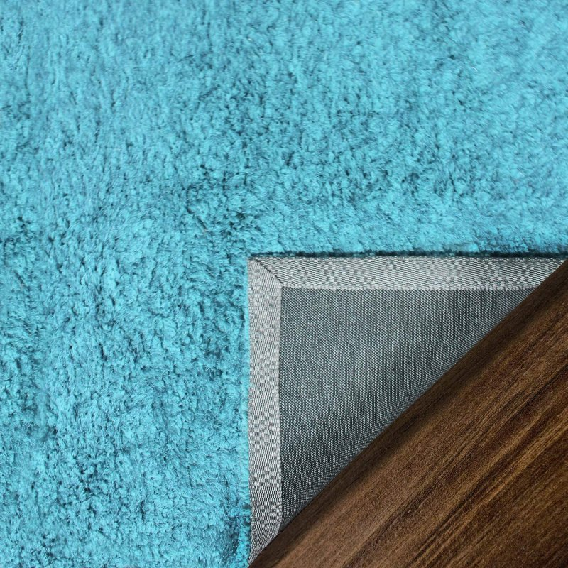 Image 6 of De Luxe Cyan Retro Hand-Tufted Soft Shag Rug & Runners Multiple Sizes