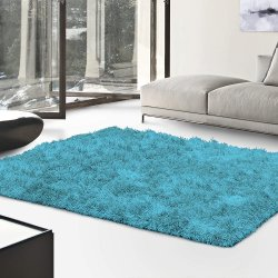 De Luxe Cyan Retro Hand-Tufted Soft Shag Rug & Runners Multiple Sizes
