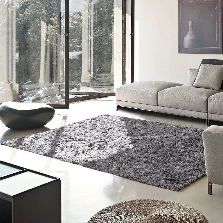 Image 0 of De Luxe Gray Retro Hand-Tufted Soft Shag Rug & Runners Multiple Sizes