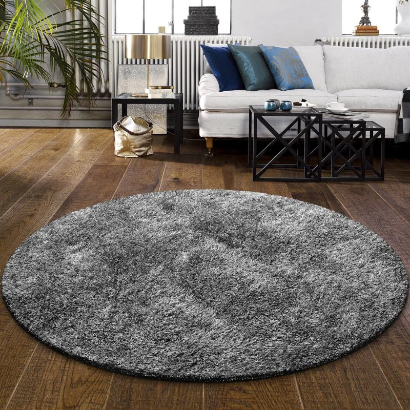 Image 1 of De Luxe Gray Retro Hand-Tufted Soft Shag Rug & Runners Multiple Sizes