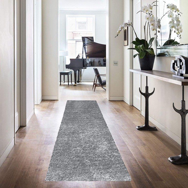 Image 2 of De Luxe Gray Retro Hand-Tufted Soft Shag Rug & Runners Multiple Sizes