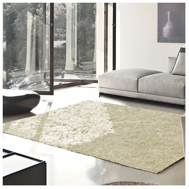 Image 0 of De Luxe Ivory Retro Hand-Tufted Soft Shag Rug & Runners Multiple Sizes