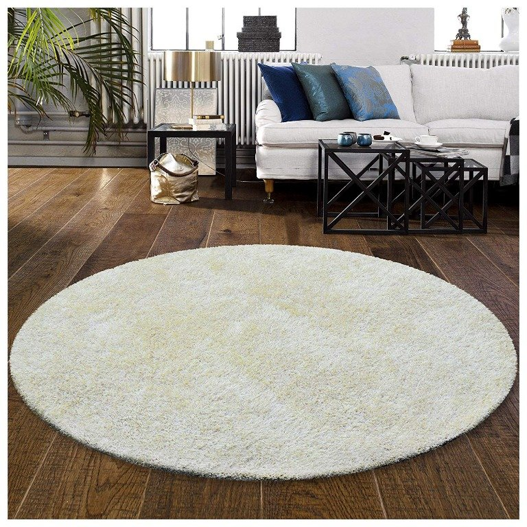 Image 1 of De Luxe Ivory Retro Hand-Tufted Soft Shag Rug & Runners Multiple Sizes