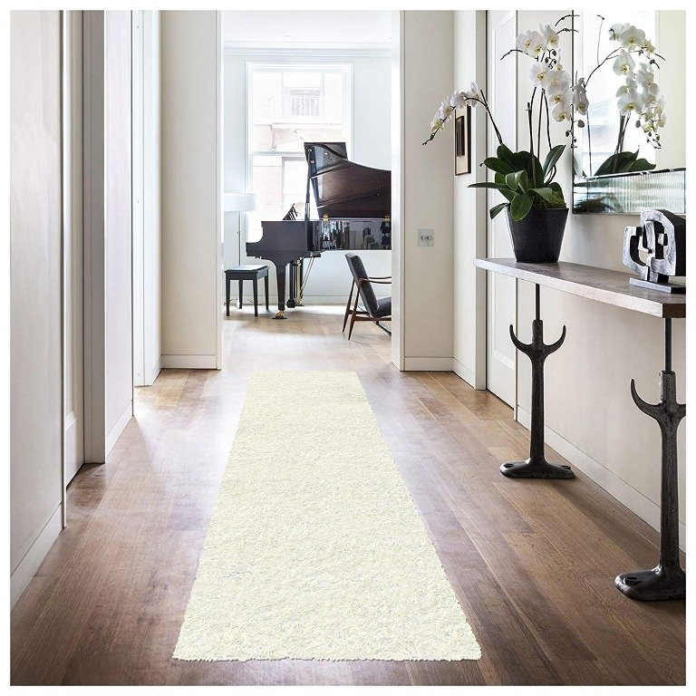 Image 2 of De Luxe Ivory Retro Hand-Tufted Soft Shag Rug & Runners Multiple Sizes