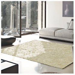 De Luxe Ivory Retro Hand-Tufted Soft Shag Rug & Runners Multiple Sizes