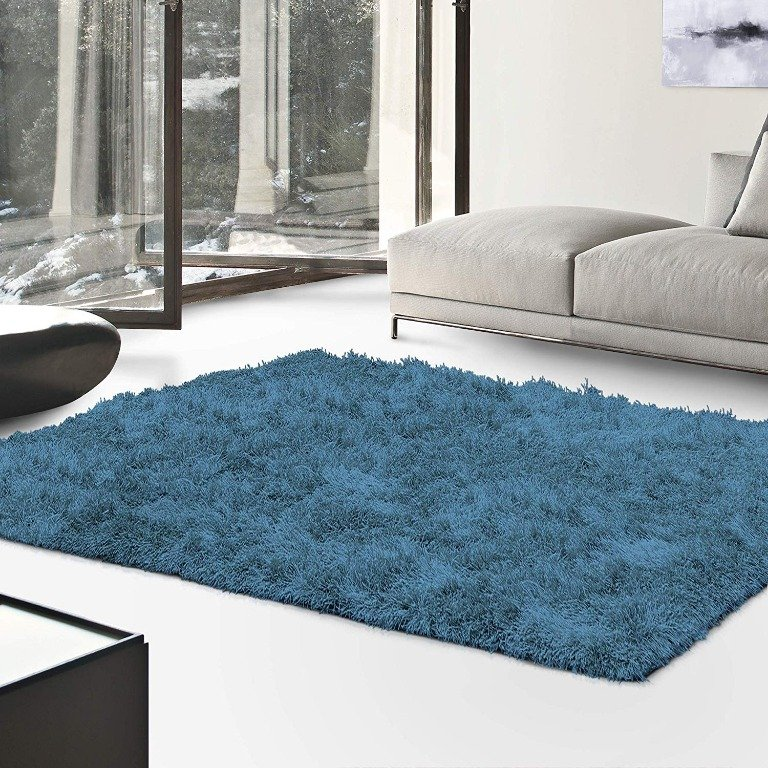 Image 0 of De Luxe Marina Blue Retro Hand-Tufted Soft Shag Rug & Runners Multiple Sizes