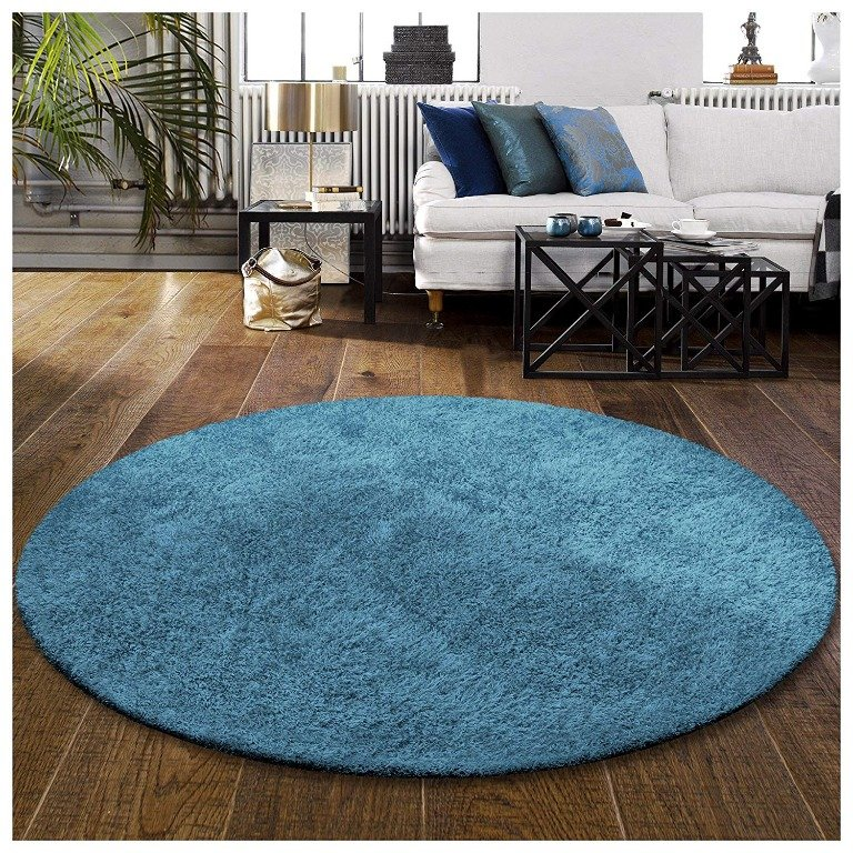 Image 1 of De Luxe Marina Blue Retro Hand-Tufted Soft Shag Rug & Runners Multiple Sizes