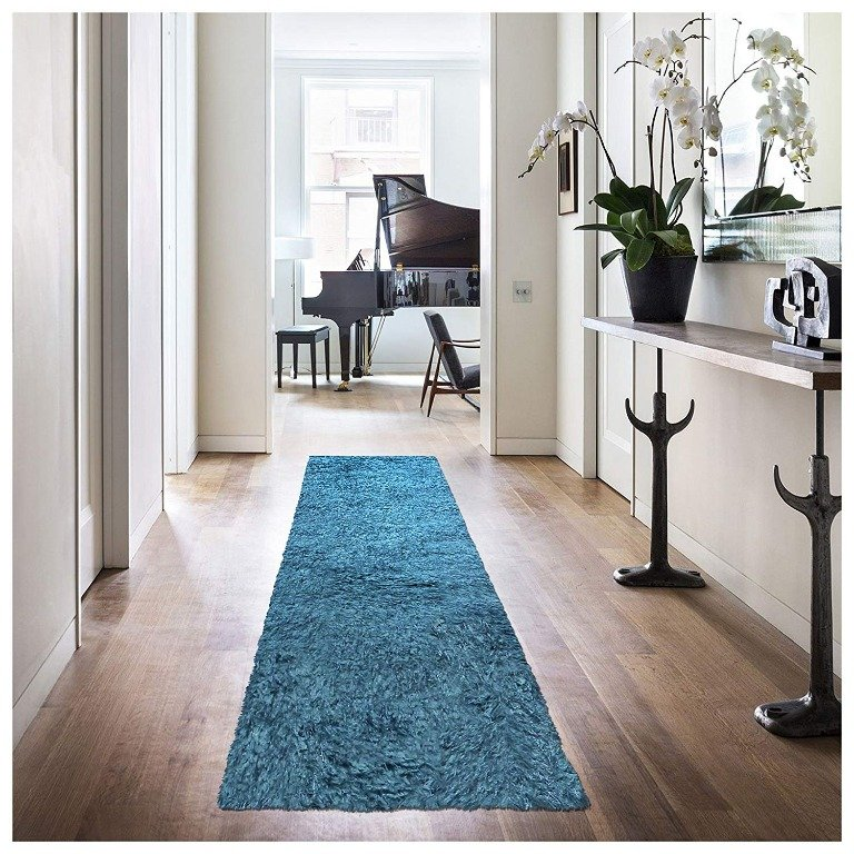 Image 2 of De Luxe Marina Blue Retro Hand-Tufted Soft Shag Rug & Runners Multiple Sizes