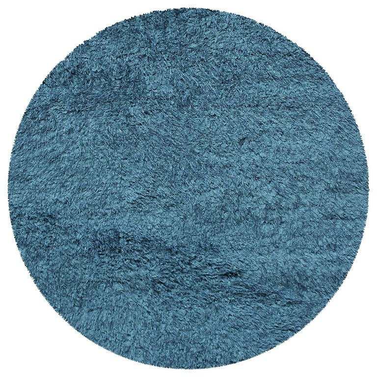 Image 4 of De Luxe Marina Blue Retro Hand-Tufted Soft Shag Rug & Runners Multiple Sizes