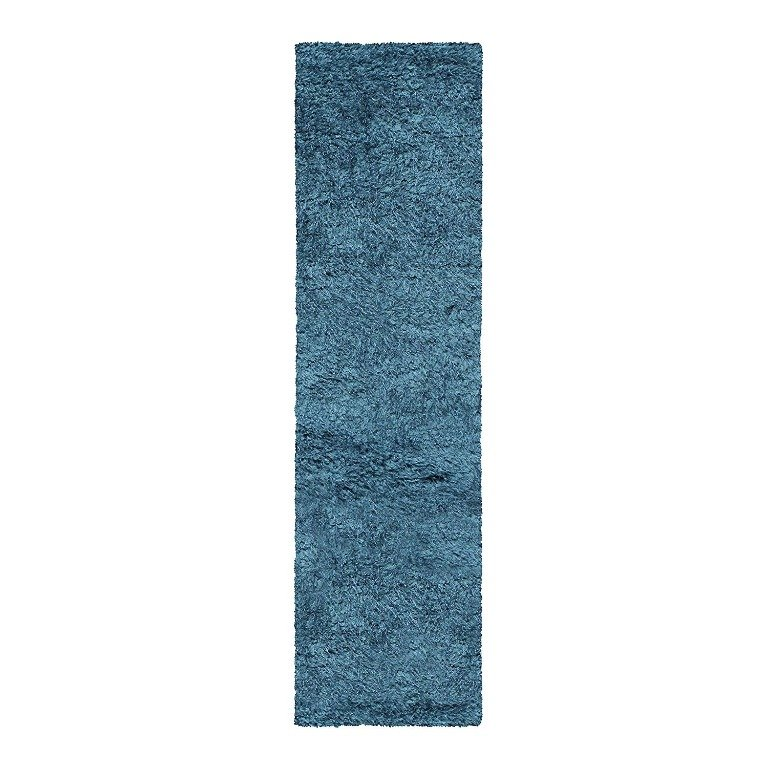 Image 5 of De Luxe Marina Blue Retro Hand-Tufted Soft Shag Rug & Runners Multiple Sizes