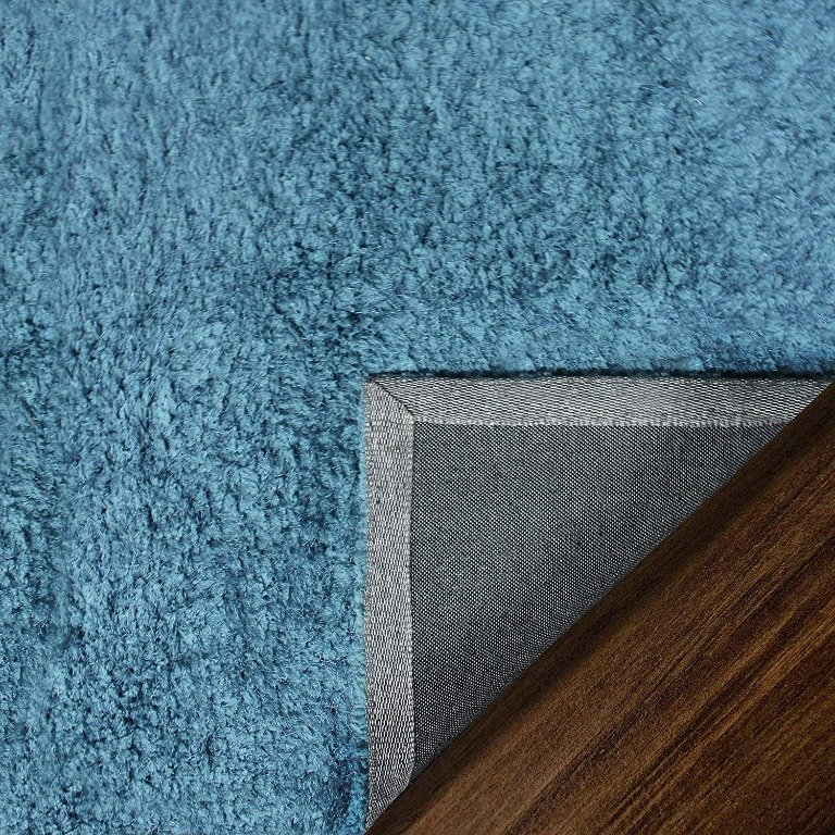 Image 7 of De Luxe Marina Blue Retro Hand-Tufted Soft Shag Rug & Runners Multiple Sizes