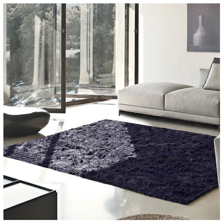 Image 0 of De Luxe Navy Blue Retro Hand-Tufted Soft Shag Rug & Runners Multiple Sizes
