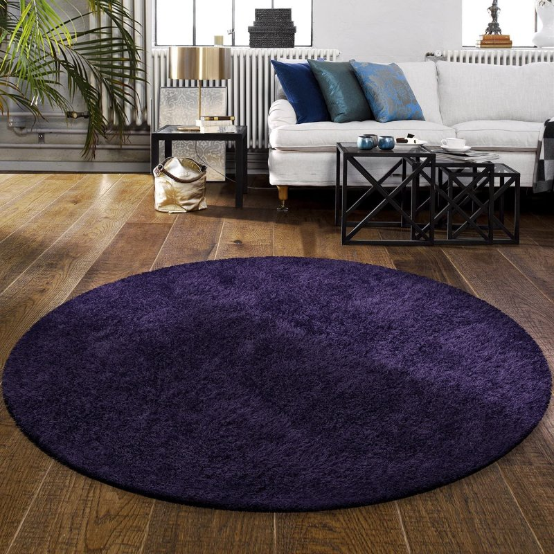 Image 1 of De Luxe Navy Blue Retro Hand-Tufted Soft Shag Rug & Runners Multiple Sizes