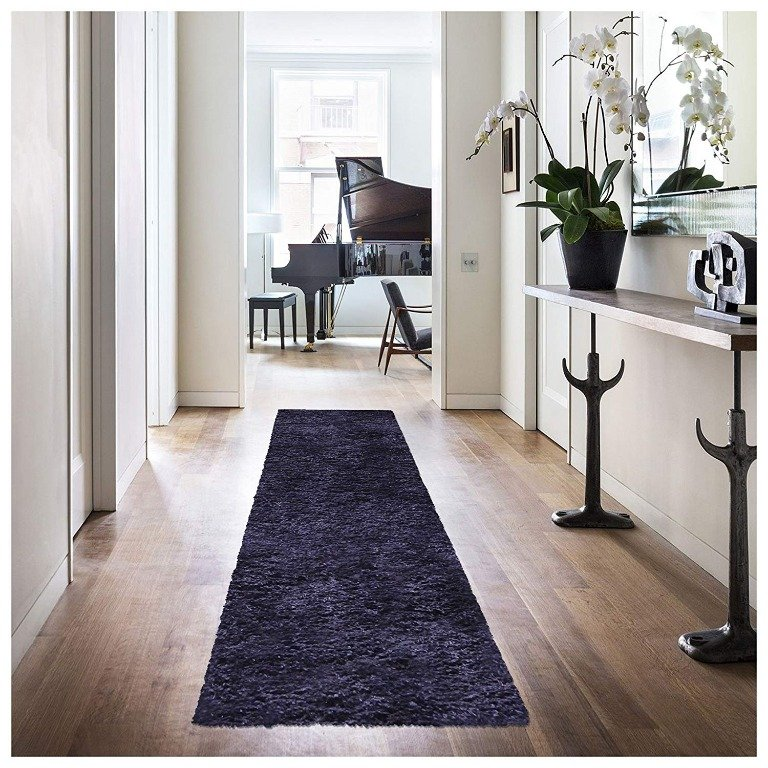 Image 2 of De Luxe Navy Blue Retro Hand-Tufted Soft Shag Rug & Runners Multiple Sizes