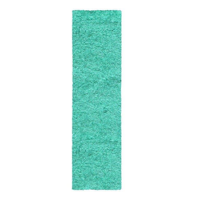 Image 5 of De Luxe Ocean Blue Retro Hand-Tufted Soft Shag Rug & Runners Multiple Sizes