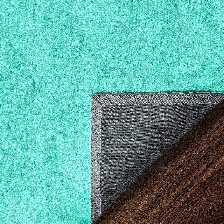 Image 7 of De Luxe Ocean Blue Retro Hand-Tufted Soft Shag Rug & Runners Multiple Sizes