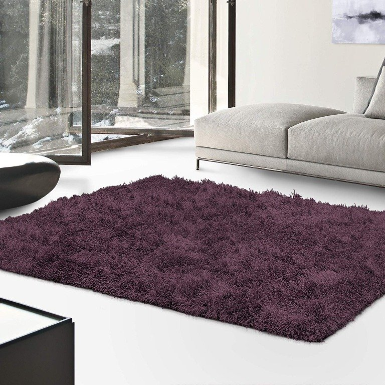 Image 0 of De Luxe Purple Retro Hand-Tufted Soft Shag Rug & Runners Multiple Sizes