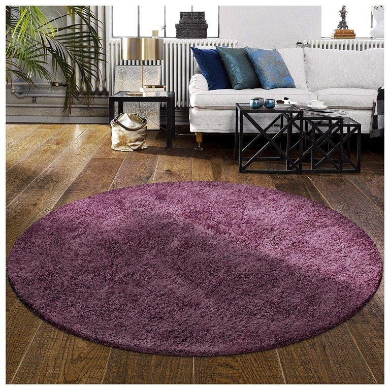 Image 1 of De Luxe Purple Retro Hand-Tufted Soft Shag Rug & Runners Multiple Sizes