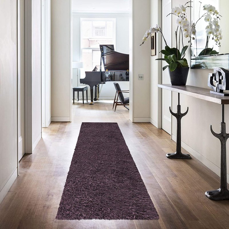 Image 2 of De Luxe Purple Retro Hand-Tufted Soft Shag Rug & Runners Multiple Sizes
