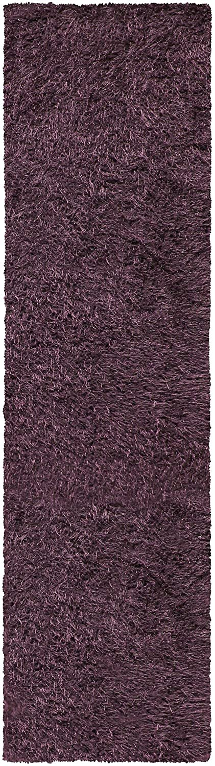 Image 5 of De Luxe Purple Retro Hand-Tufted Soft Shag Rug & Runners Multiple Sizes