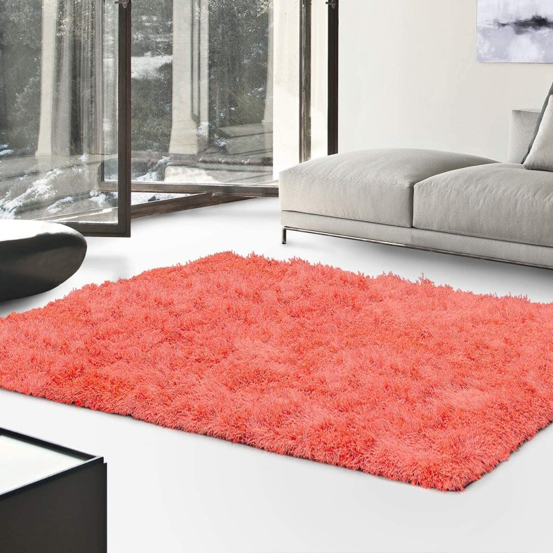 Image 0 of De Luxe Spiced Coral Retro Hand-Tufted Soft Shag Rug & Runners Multiple Sizes
