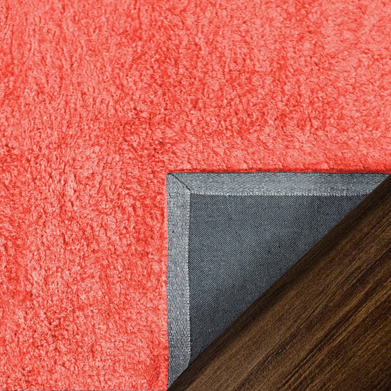 Image 6 of De Luxe Spiced Coral Retro Hand-Tufted Soft Shag Rug & Runners Multiple Sizes