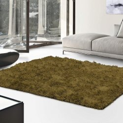 De Luxe Sage Retro Hand-Tufted Soft Shag Rug & Runners Multiple Sizes