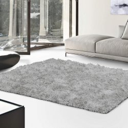 De Luxe Silver Retro Hand-Tufted Soft Shag Rug & Runners Multiple Sizes