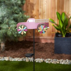Pink Farm Truck with LED Solar Lighted Wheels Garden Stake 31 High