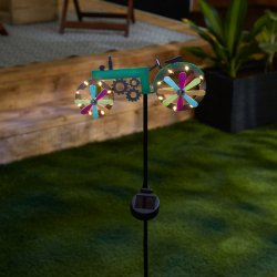 Green Farm Tractor with LED Solar Lighted Wheels Garden Stake 31 High