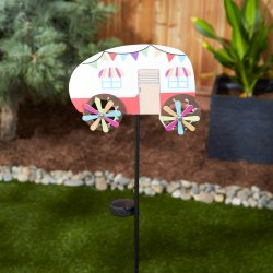 Red & White Camper with LED Solar Lighted Wheels Garden Stake 31 High