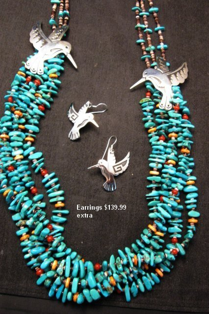 Image 6 of Everett Mary Teller 5 Strand Turquoise & Silver Overlay Hummingbird Necklace