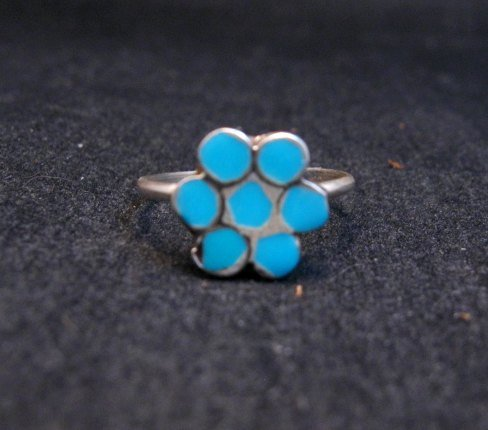 Image 0 of Classic Vintage Zuni Dishta Style Turquoise Ring sz5-1/4