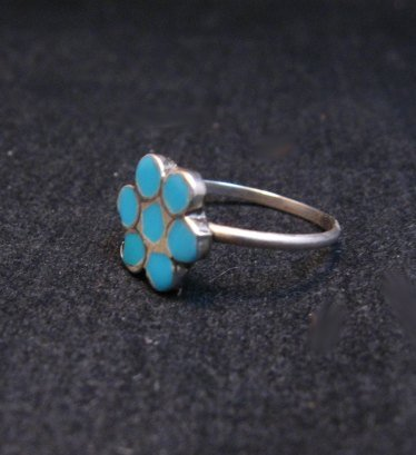 Image 1 of Classic Vintage Zuni Dishta Style Turquoise Ring sz5-1/4