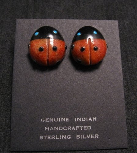 Image 0 of Cute Zuni Indian Ladybug Fetish Earrings by Georgette Quam