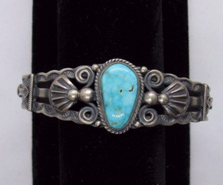 Image 0 of Darrell Cadman Navajo Turquoise Sterling Silver Bracelet