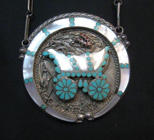 Image 0 of Vintage DISHTA Zuni Turquoise Inlay Conestoga Wagon Necklace, VM Dishta