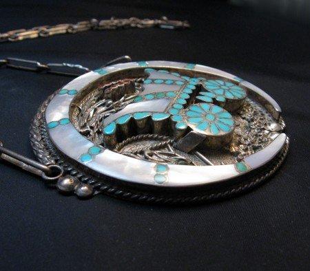 Image 2 of Vintage DISHTA Zuni Turquoise Inlay Conestoga Wagon Necklace, VM Dishta