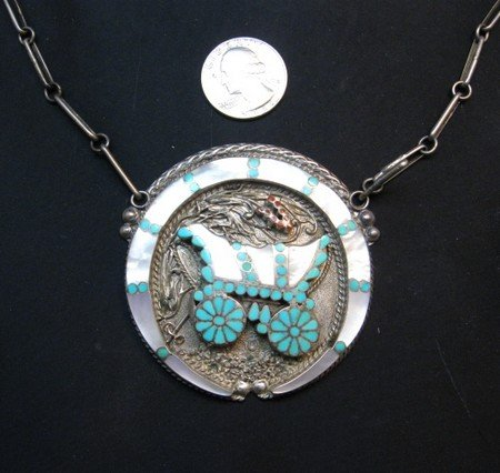 Image 3 of Vintage DISHTA Zuni Turquoise Inlay Conestoga Wagon Necklace, VM Dishta