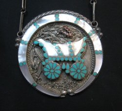 Vintage DISHTA Zuni Turquoise Inlay Conestoga Wagon Necklace, VM Dishta