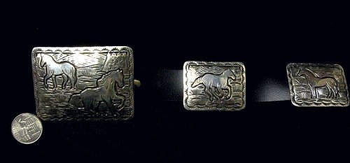 Image 1 of Eric Delgarito Navajo Sterling Silver Horse Storyteller Concho Belt