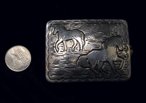 Image 2 of Eric Delgarito Navajo Sterling Silver Horse Storyteller Concho Belt
