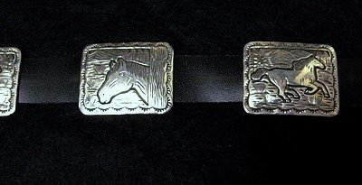 Image 4 of Eric Delgarito Navajo Sterling Silver Horse Storyteller Concho Belt